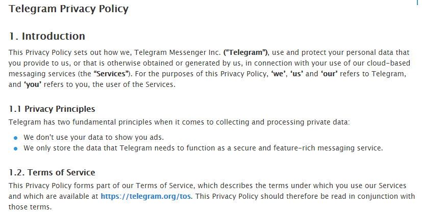 Telegram terms and conditions